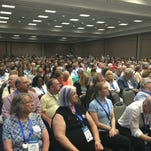 Democrats from around the state gathered in Louisville on Saturday to nominate delegates to the national convention