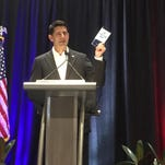 House Speaker Paul Ryan addresses Mississippi delegates to the Republican National Convention in Cleveland on July 20, 2016.