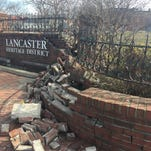 Brick city sign damaged in crash