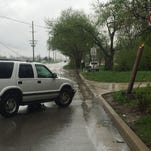 The driver of this SUV lost control of it on the wet pavement on Beck Lane around 3:15 p.m. Sunday. The vehicle snapped a utility pole, downing a power line. Duke Energy crews were en route, but Beck Lane was closed west of Polland Hill Road until the wreck could be cleaned up.