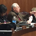 Monroe City Council Chairman Ray Armstrong leads a discussion about the proposed city budget.