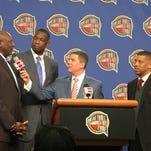 NBA Hall of Fame finalists with NBA TV's Rick Kamla (holding microphone). From left to right: Spencer Haywood, Dikembe Mutumbo and Kevin Johnson