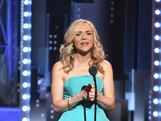 Rachel Bay Jones accepts the award for best performance