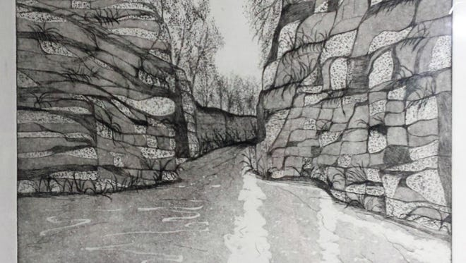 """The Passage"" by Brookfield artist Tony Ostry is one of the works being featured this month at Inspiration Studios in West Allis. ""Etchings by Ostry"" will be on display at the studio through April 30."