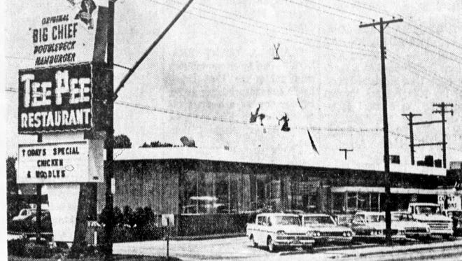 Exterior of the Tee Pee restaurant in 1966.