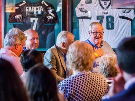 Bob Byrd, president and CEO of The Byrd Group, a Wilmington lobbying firm, speaks to guests at a dinner for members of the Delaware Democratic National Convention delegation, business leaders and lobbyists at Chickie's and Pete's on Wednesday during the Democratic National Convention in Philadelphia.