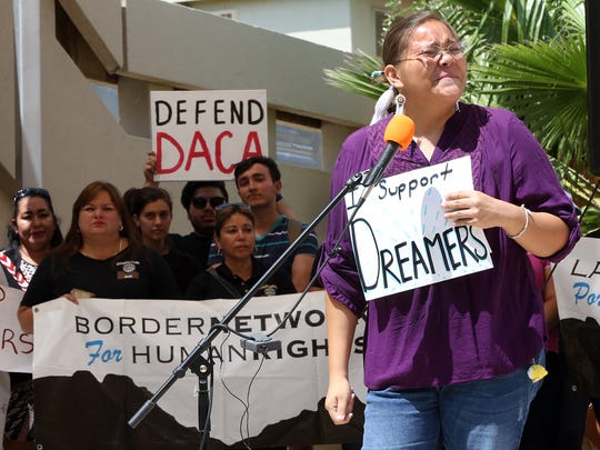 Cheyanne Lozano of El Paso gives an emotional talk in support of the Deferred Action for Childhood Arrivals program during a rally on the UTEP campus in September 2017.