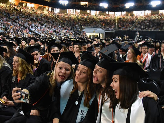 UT students had time for a group selfie before the start of  the University of Tennessee College of Arts and Sciences Commencement Ceremony at Thompson-Boling Arena on Saturday, May 12, 2018.