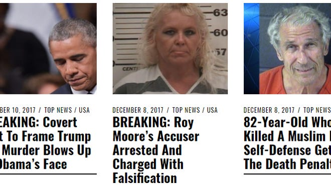 Fake news headlines from USA Mirror News, a self-proclaimed satire website.