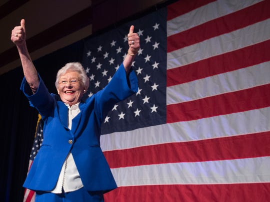 Alabama Gov. Kay Ivey celebrates her win in the Republican primary election Tuesday, June 5, 2018, during her return watch party at the Renaissance Hotel in Montgomery, Ala. (Julie Bennett/Montgomery Advertiser)