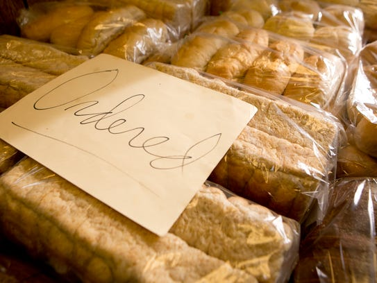 Ordered homemade bread on display at Gremler's Bakery