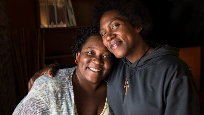 Sisters Dominique Wicker, left, and Danielle Cleveland hope to find answers to the shooting of their father, Darnell Thomas Wicker, by LMPD officers on Aug. 8, 2016. Officers Taylor Banks and Beau Gadegaard responded to a call by Wicker's girlfriend, Anita Jones, in the early morning hours and opened fire on Wicker during their approach, seconds after asking him to drop a cutting saw. Sept. 29, 2016