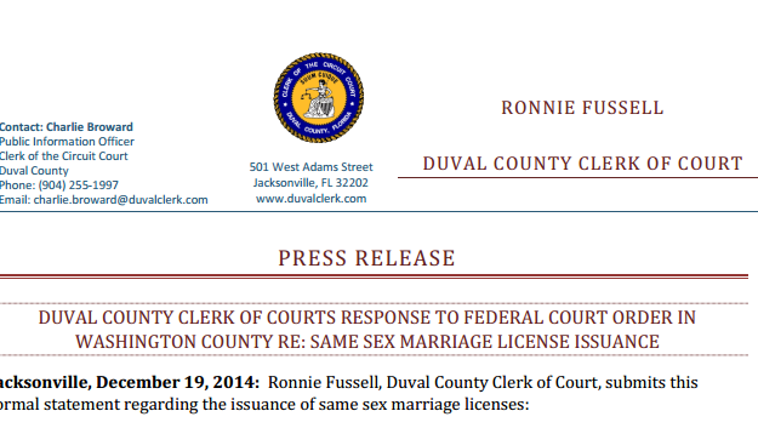 Ronnie Fussell, Clerk of the Circuit and Duval County