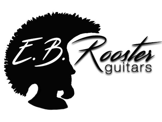 The logo for E.B. Rooster Guitars is a design Erik