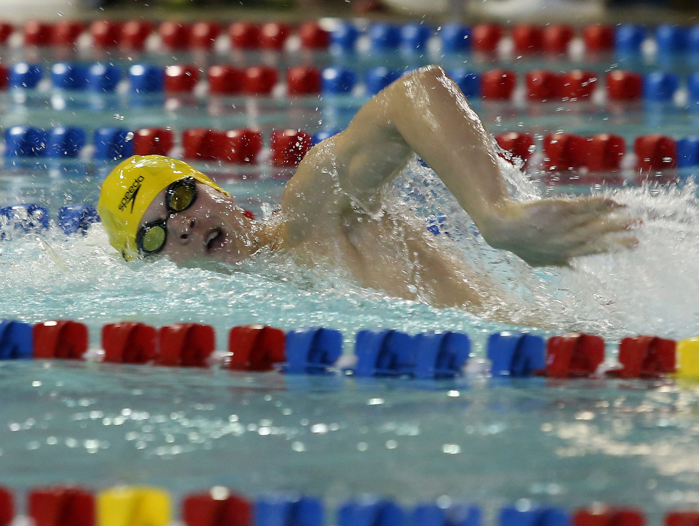 Iowa City West junior Aidan Keen competes in the 200-yard freestyle on Saturday during the 2015 Iowa boys state swim tournament in Marshalltown.