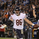 Chicago tight end Zach Miller (86) celebrates the game-winning score Monday night in San Diego.