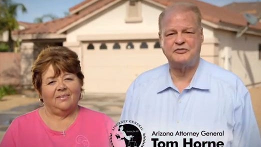 Attorney General Tom Horne appears in an ad featuring a woman who was able to keep her home by tapping the state's mortgage-settlement funds.