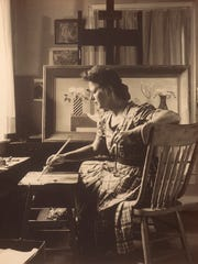 The artist Doris Lee at home in Woodstock photographed