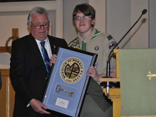 Photo courtesy of Boy Scout Troop 39  Morris Plains Mayor Frank Druetzler and Eagle Scout Jack Thraen.