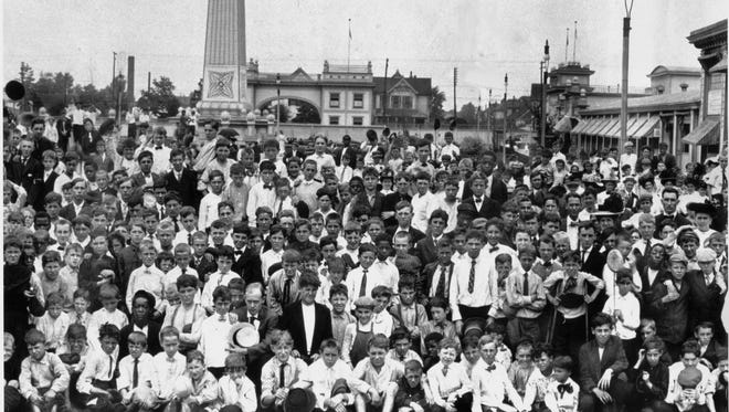 The Indianapolis News carriers gathered for an outing at Wonderland Amusement Park near Washington and Gray Streets on the eastside in 1908.