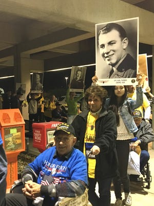 Korean War veteran Cpl. Earl Eakins returns to Evansville on Saturday night after the Honor Flight trip to Washington.