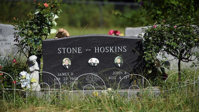 Pictured is the headstone marking the gravesite where James Stone-Hoskins is buried in Clarkridge's Thacker Cemetery. It is the site where his husband, John Stone-Hoskins, also will be laid to rest. John won a civil rights battle in Texas for their same-sex marriage to be recognized by the state.