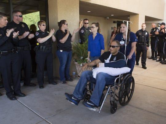 Chandler Officer Joshua Pueblo, who was shot in the