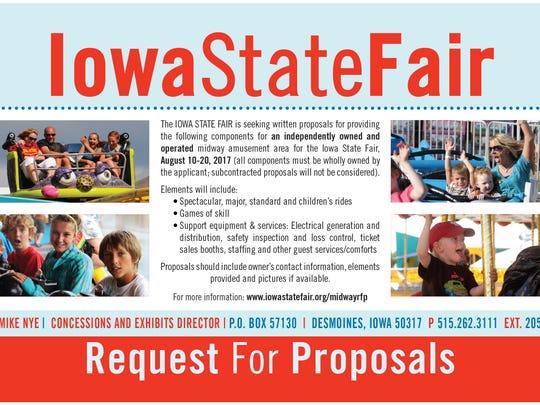 The Iowa State Fair has run this ad as it assembles