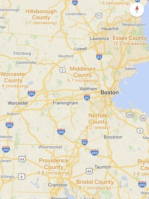 Screenshot from Google Maps, showing data from Rhode Island and eastern Massachusetts.