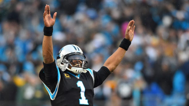 Carolina Panthers quarterback Cam Newton (1) reacts near the end of the game at Bank of America Stadium.