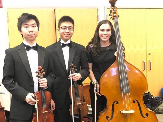 Three Westfield High School students, (l-r) Junlin