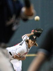 El Paso Chihuahuas pitcher Daniel McCutchen lets a pitch fly during the team's home opener against the Reno Aces on Friday night at Southwest University Park. See a photo gallery at elpasotimes.com.