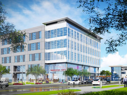 An illustration of one of the main office buildings planned at 16 Tech.
