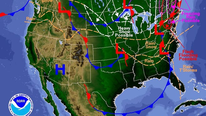 National Weather Service map for Monday.`