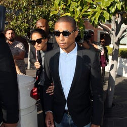 The always-stylish Pharrell Williams is seen outside the courthouse on March 4, 2015 in Los Angeles.