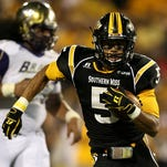 Southern Miss Golden Eagles wide receiver D.J. Thompson (5) runs after a catch against the Alcorn State Braves in the second half at M.M. Roberts Stadium. Mandatory Credit: Chuck Cook-USA TODAY Sports