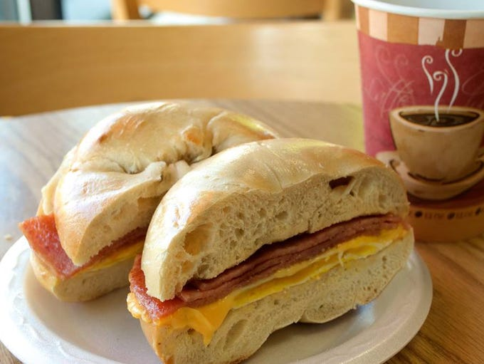 A pork roll, egg and cheese from Bagel Masters in Shrewsbury.
