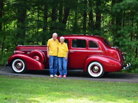 Jim and Sharon Hamilton with their street rod.
