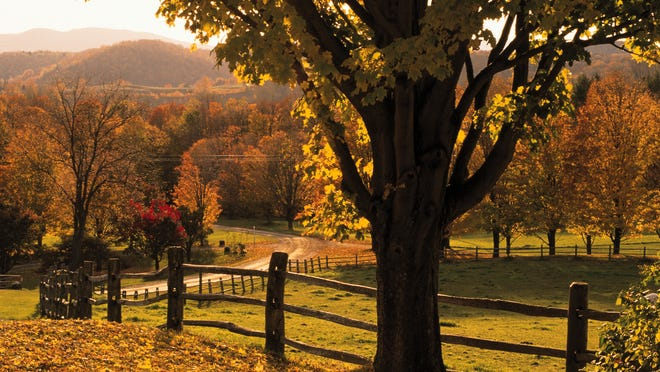 Scenic ranch in autumn , Woodstock , Vermont