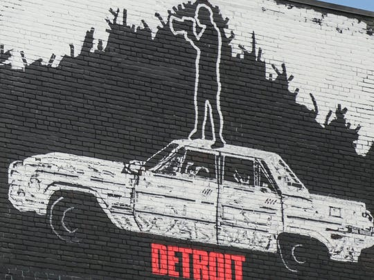A mural by Detroit artist Nic Notion is seen on Russell