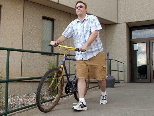 David Whitesock leaves the Public Safety Building after his second Breathalyzer test of the day in June 2006. Whitesock was required to take the test twice a day as part of South Dakota's 24/7 Sobriety program.