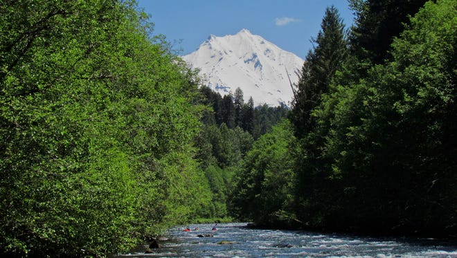 Mount Jefferson shines like a beacon over the Upper North Santiam River in areas that can only be reached via kayak and raft.