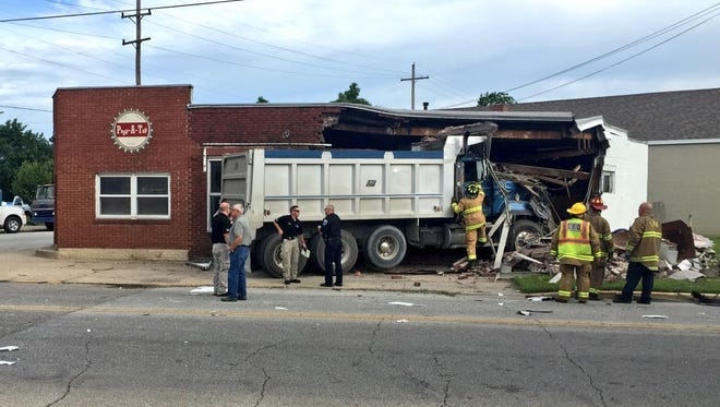 A dump truck that crashed into Popp-A-Top at 18th and Schuyler streets.