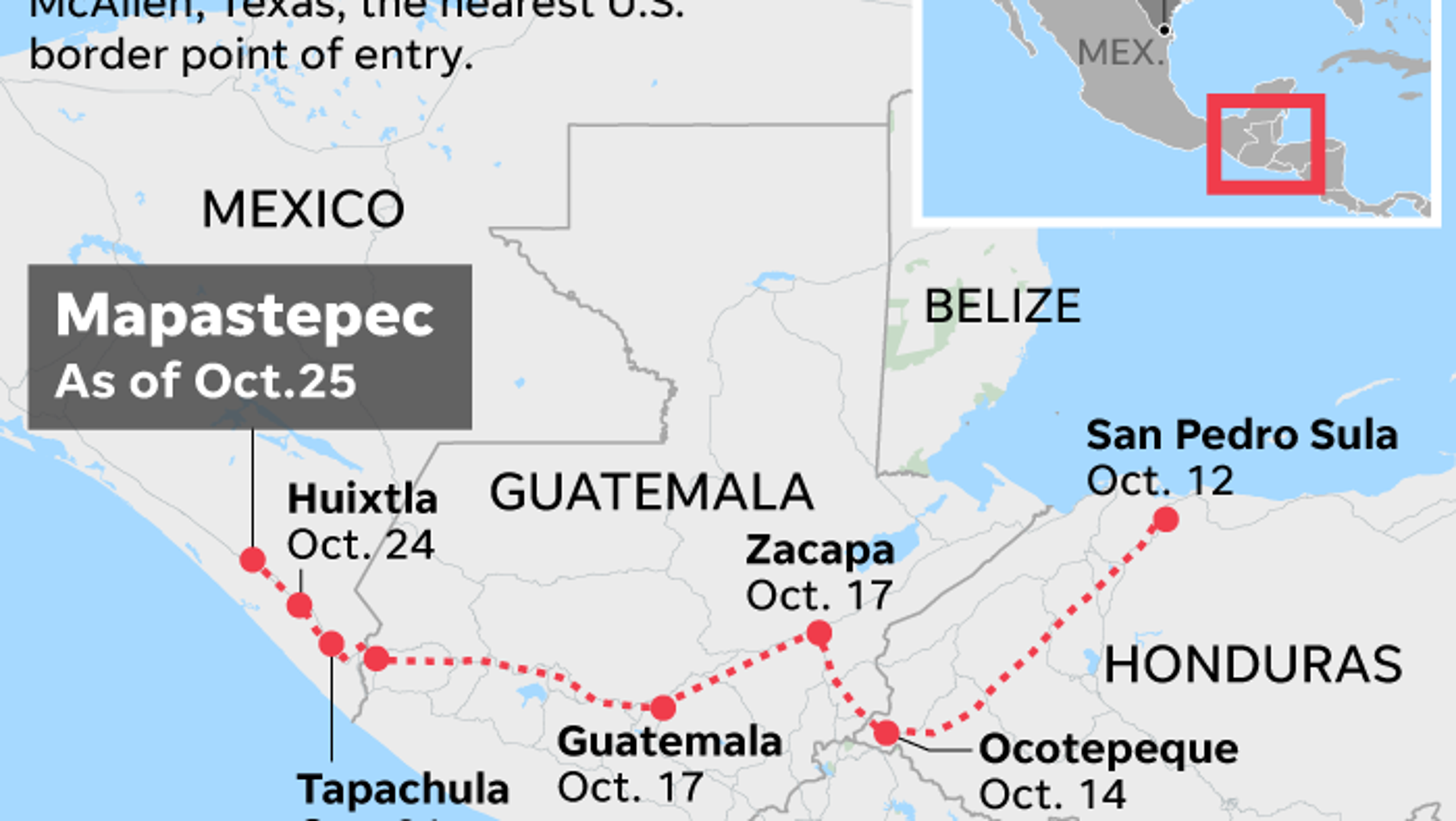 Mapastepec Mexico Map.Migrant Caravan Where Are They When Will They Get To The U S Border