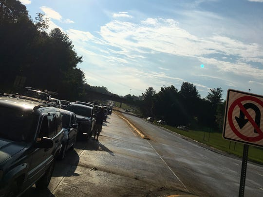 Traffic backs up on I-240 eastbound at the I-40 interchange