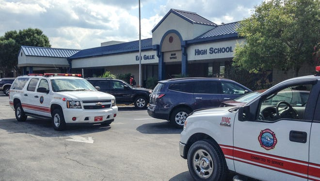 Emergency crews respond to a reported fire at Eau Gallie High School on Tuesday afternoon.