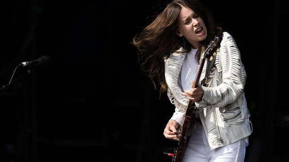 Danielle Haim of Haim performs on The Other Stage during Day 1 of the Glastonbury Festival at Worthy Farm on Junem2014 in Glastonbury, England.