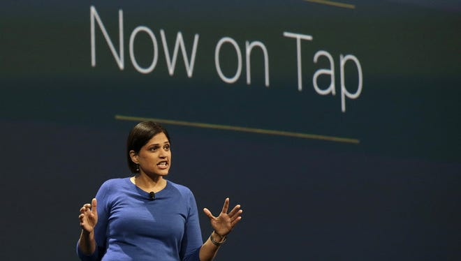 Aparna Chennapragada, director at Google Now, speaks during the Google I/O 2015 keynote presentation in San Francisco, Thursday, May 28, 2015.