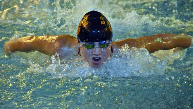 Dominique Meldrum was part of Brighton's 400 freestyle relay, which set a KLAA West Division meet record on Saturday.