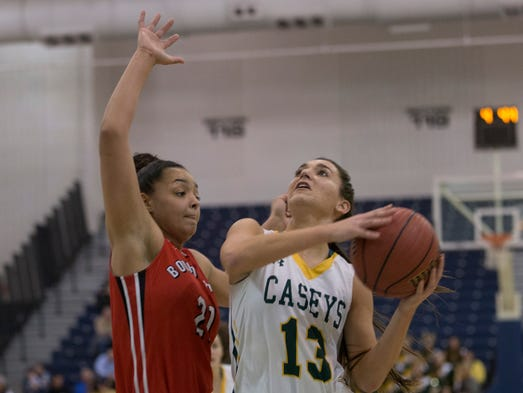 RBC'S  Katie Rice drives to the basket against Bound